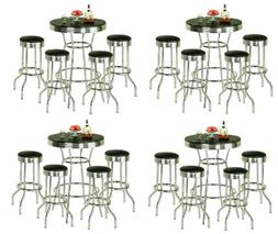 4 Sets of 5 Piece Retro Black Bistro Table & Pub Set with 4