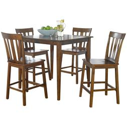 Tall Counter Height Dining Set 4 Chairs Square Table Kitchen