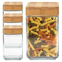 Anchor Hocking  48 Ounce Glass Jars Container Bamboo Lid Air