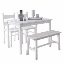 4 PCS Dining Table Set Solid Wood Table w/ 2 Chairs & Bench