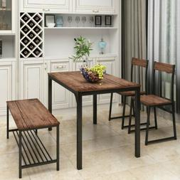 4 Piece Dining Set with 2 Chairs and Bench for Kitchen Table