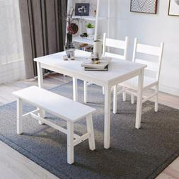 4 piece dining table set solid wood