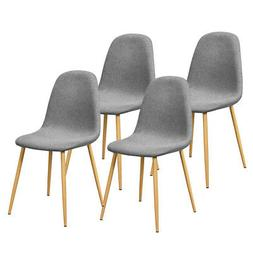 4-Set Modern Home Kitchen Dining Chairs Fabric Cushion Metal
