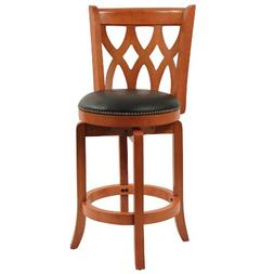 Boraam 40224 Bar Stool with Nailhead Trim, 24-Inch, Cherry