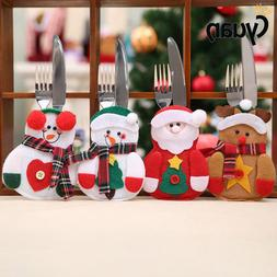 4pcs Christmas Decorations For Home Snowman Cutlery Bags Chr