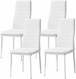 4Pcs Dining Chairs Faux Leather Padded Seat Metal Legs Dinin