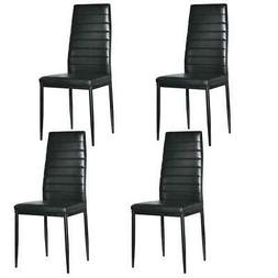 4Pcs Dining Side Chair PU Leather High Back Kitchen Elegant