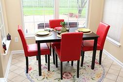 5 PC Red Leather 4 Person Table and Chairs red Dining Dinett