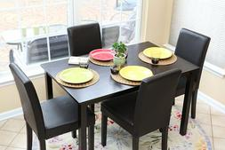 Home Life 5 PC Black Leather 4 Person Table and Chairs Dinin