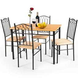 5 PC Dining Set Wood Metal Table and 4 Chairs Kitchen Breakf