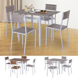 5 PC Extending Drop Leaf Counter Height Dining Set Table & 4