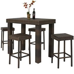 Best Choice Products 5 PC Wicker High Dining Furniture Set W