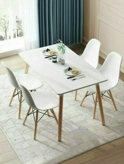 5 PCS Dining Set Table and 4 Chairs Home Kitchen Breakfast B