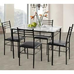 5 Pcs Dining Set Tempered Glass Top Table & 4 Upholstered Ch