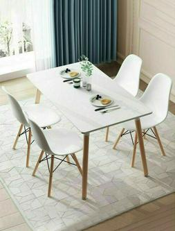 5 Piece Dining Table Set with 4 Chairs Wood Metal Kitchen Br