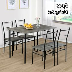 5 PCS Dining Table and 4 Eames Style Chairs Set Glass Metal