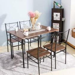 5 PCS Indurstrrial Dining Set with 4 Chairs Wood Metal Dinin