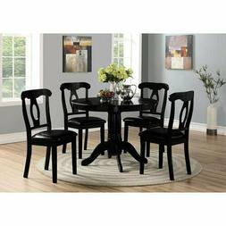 5-piece Black Dining Set Round Pedestal Table and Chair Set