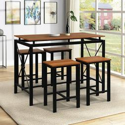 5-Piece Breakfast Tables Dining Set 4 Chairs Table Wood Kitc