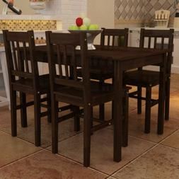 5 Piece Brown Wood Dining Table Set 4 Chairs Kitchen Room Br