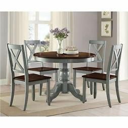5 Piece Dining Room Set Rustic Round Kitchen Table Chairs Fa