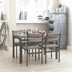Zenvida 5 Piece Dining Set Rustic Grey Wooden Kitchen Table