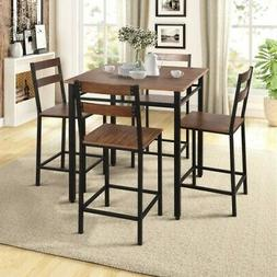5-Piece DINING SET COUNTER HEIGHT Table 4 Chairs Metal Vinta