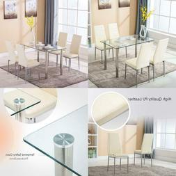 Mecor 5 Piece Dining Set, Glass Kitchen Table Set With 4 Lea