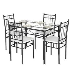 5 Piece Dining Set Glass Metal Table and 4 Chairs Kitchen Di