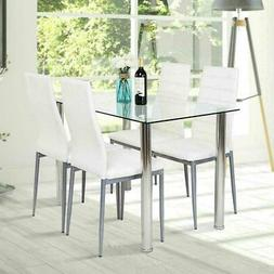 5 Piece Dining Set Glass Table & 4 Chairs White PU Leather K