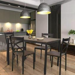 5 piece dining set industrial style wooden