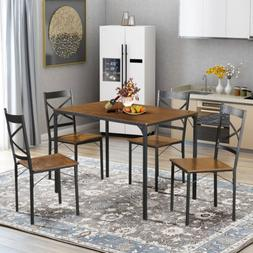 5-Piece Dining Set Industrial Style Wooden Kitchen Table and