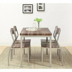 5 Piece Dining Set Kitchen Breakfast Table 4 Chairs Home Met