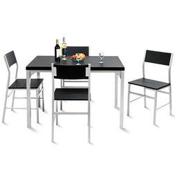 5 Piece Dining Set Table & 4 Chairs Wood Metal Kitchen Break