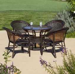 Outdoor Wicker 5 Piece Dining Set Table Patio Furniture Home