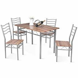 5 Piece Dining Set Wood Metal Table and 4 Chairs Kitchen Mod