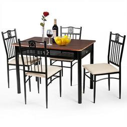 5 Piece Dining Set Wood Metal Table and 4 Chairs Kitchen Bre
