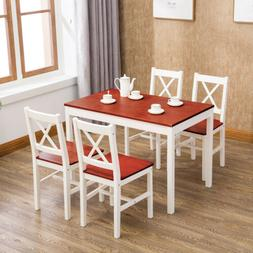 5 Piece Dining Table Set with 4 Chairs Pine Wood Kitchen Din