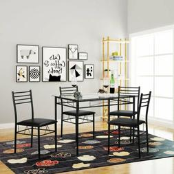 5 Piece Dining Table Set For 4 Chairs Glass Metal Kitchen Br