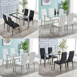 5 Piece Dining Table Set Glass Metal 4 PU Leather Chairs Kit