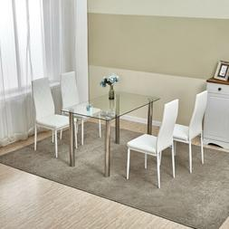 5 Piece Dining Table Set Glass Metal w/4 Chairs Kitchen Room