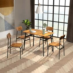 5 Piece Dining Table Set Metal frame+Wood Kitchen Breakfast