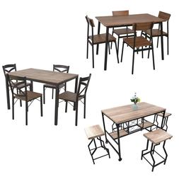 5-piece Dining Table Set,W/4 Metal-leg Chairs Restaurant H