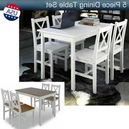 5 Piece Dining Table Set with 4 Chairs Wood Table Kitchen Di