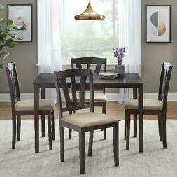 5-Piece Espresso Finish Dining Set W/ Upholstered Chairs Mod