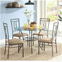 """5-Piece Glass And Metal Dining Set 42"""" Round Tabletop Kitche"""