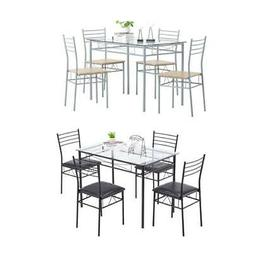5 Piece Metal Dining Table Set 4 PVC Chairs Kitchen Breakfas