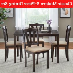 5-Piece Modern Dining Table Set 4 Chairs Wood Kitchen Room B