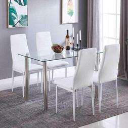 5 Piece Modern Glass Dining Table and High Back Leather Chai