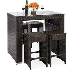 Best Choice Products 5-Piece Outdoor Wicker Dining Bar Table